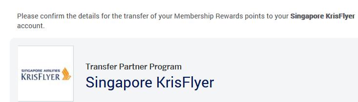 AmEx to Krisflyer transfer