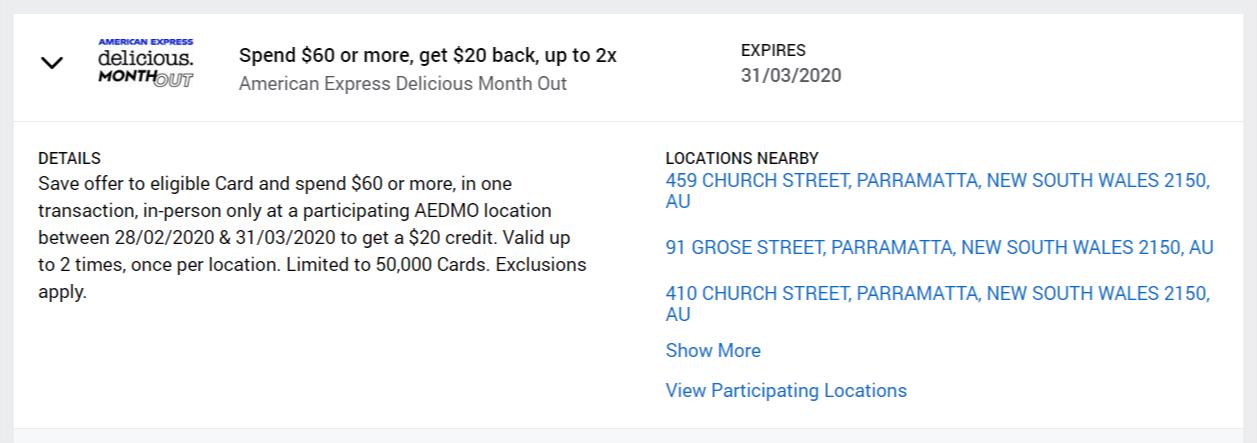 Amex spend $60, get $20 back offer