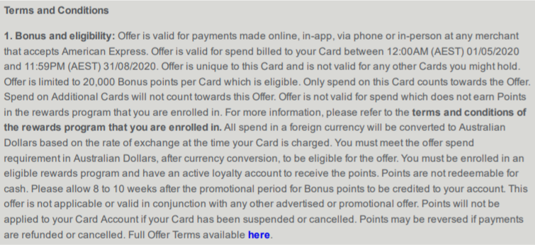 Amex Offer T&C's