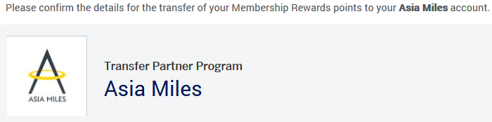 Asia Miles and Amex MR program