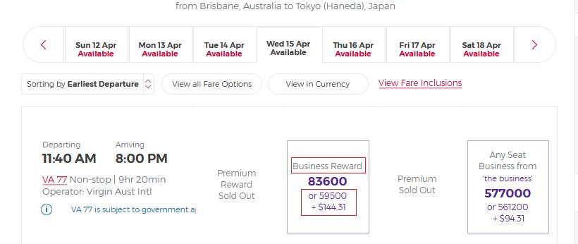 Business Reward Seat VA, Brisbane - Tokyo