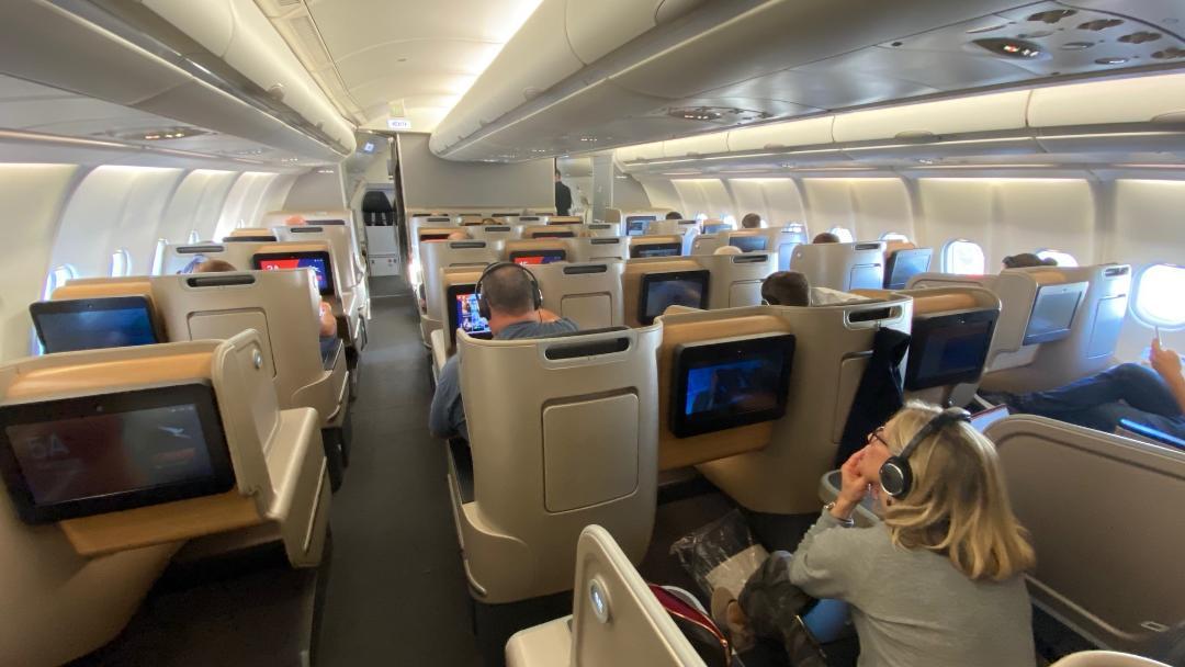 Qantas A-330 Business Class Cabin