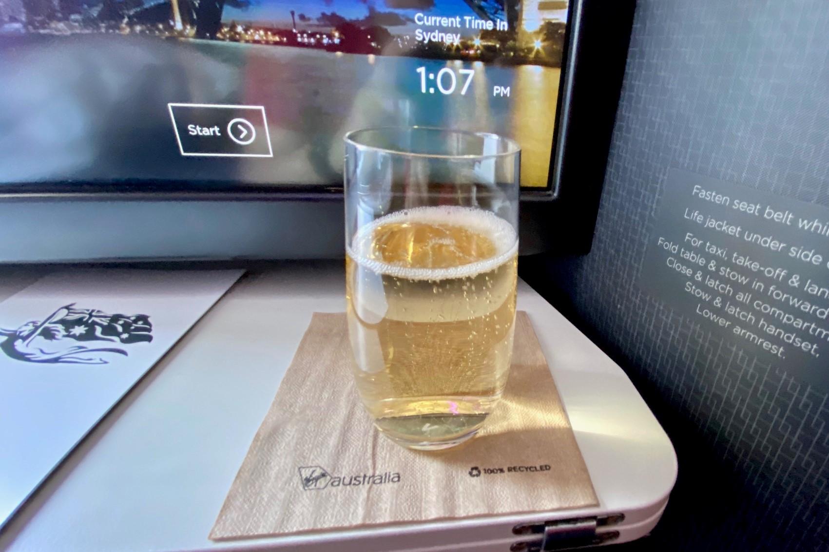 Welcome Drink, Virgin Australia A-330 Business Class