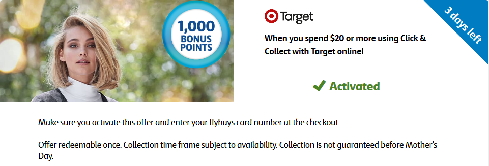 Target Click & Collect bonus flybuys points offer