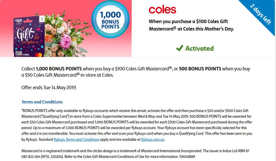 Coles Gift Mastercard bonus flybuys offer