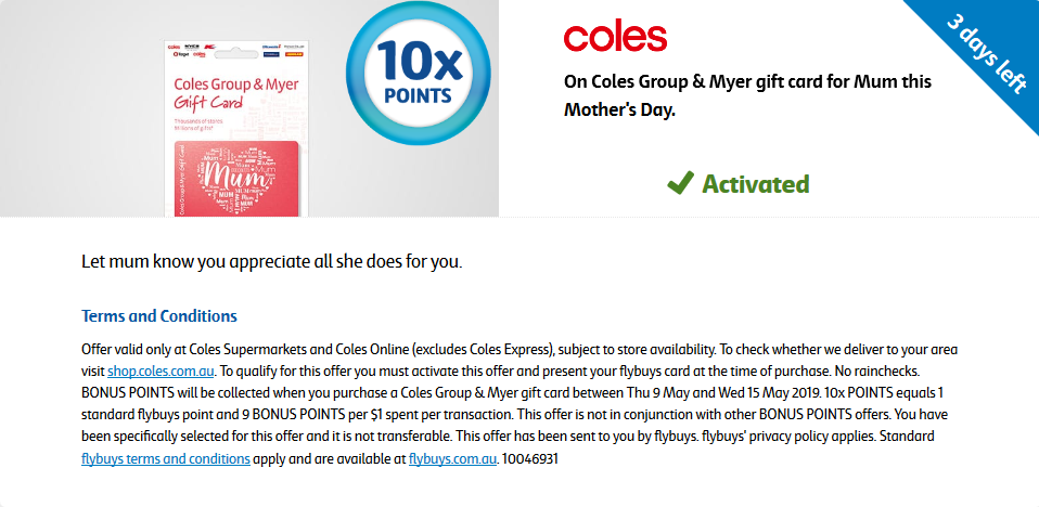Coles Myer Card 10x points