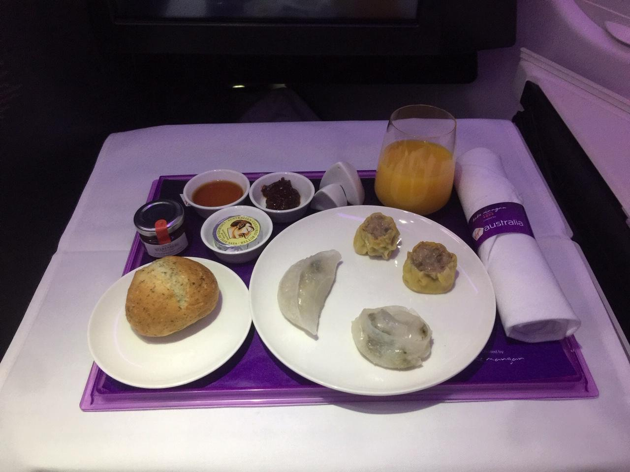 Virgin Australia Business Class pre-arrival meal