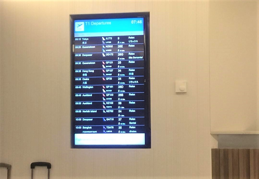 Flight Display Board, Amex Lounge, Sydney T1