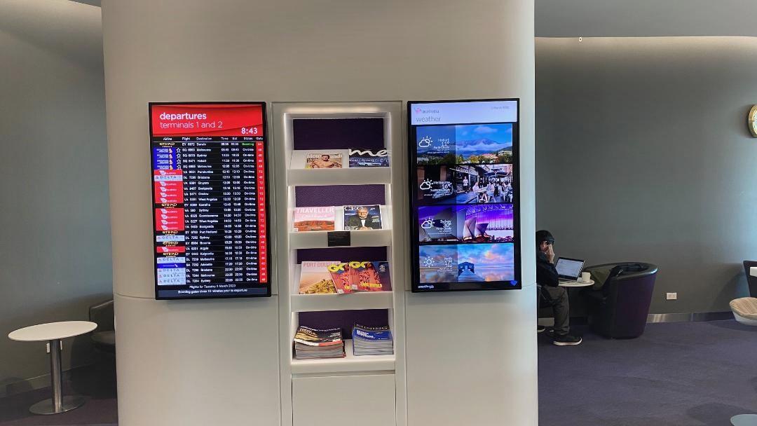 Flight Display Board and Book Shelves, Virgin Australia Lounge - Perth Airport