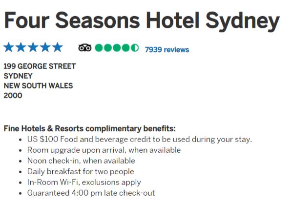 Four Seasons Sydney, Amex FH&R benefits