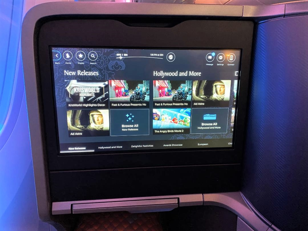 IFE Screen on Singapore Airlines B787-10 Business Class Seat