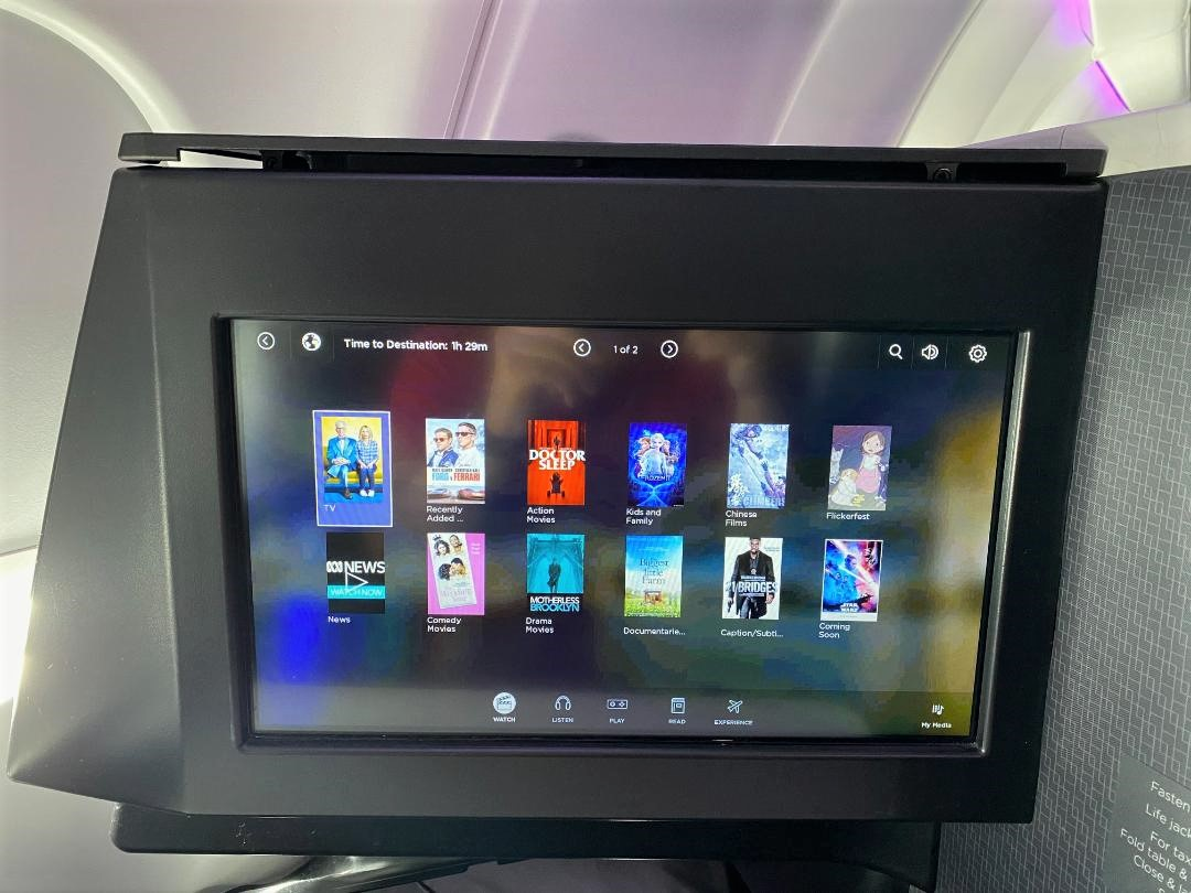 Virgin Australia A-330 Business Class, IFE Screen