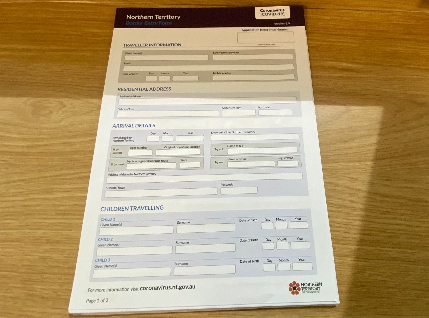 Border Entry Form, Northern Territory
