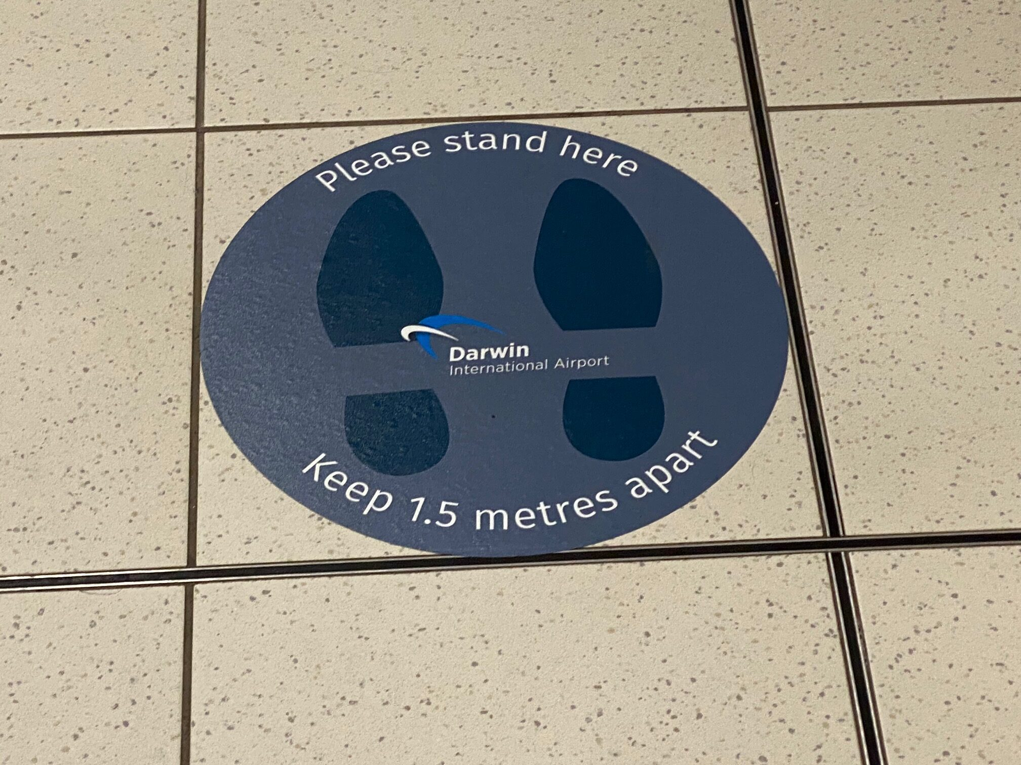 COVID safe message, Darwin Airport