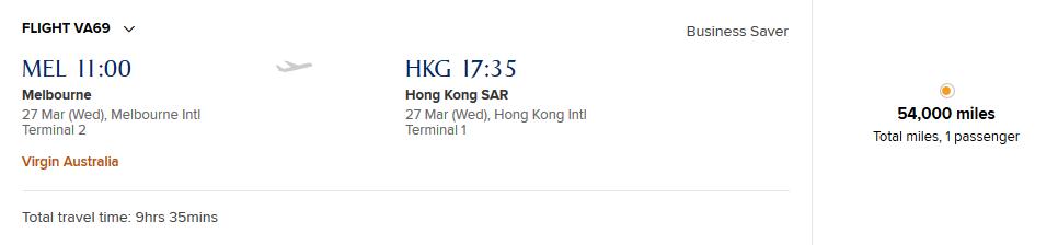Melbourne to Hong Kong on Virgin Australia using KrisFlyer miles
