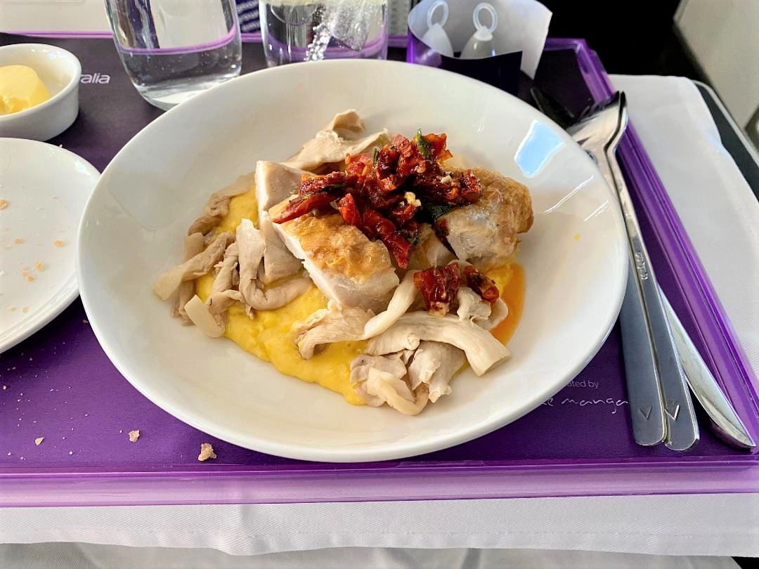 Chicken breast and noodles on Virgin Australia Business Class