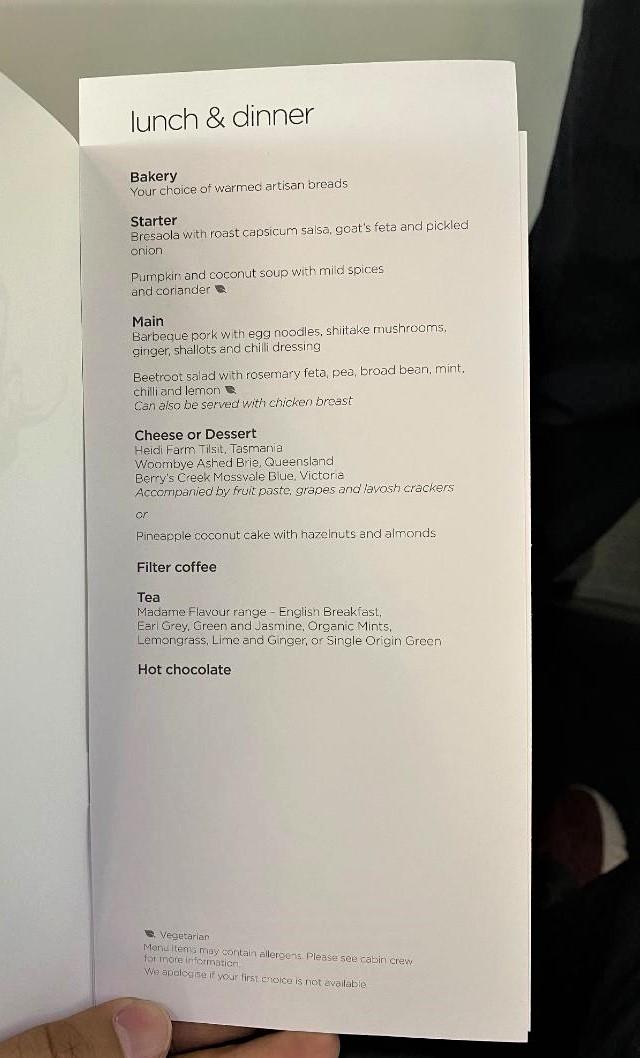 Virgin Australia Business Class Menu