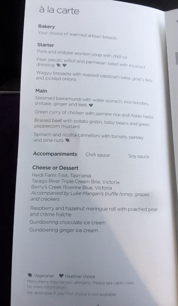 Virgin Australia Business Class Dining Menu