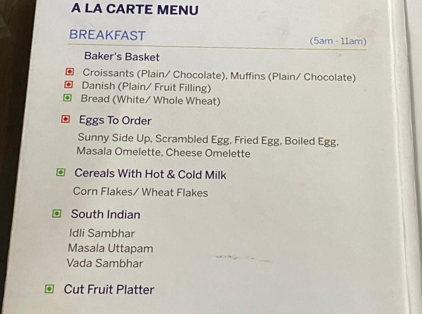 Breakfast Menu - American Express Lounge, Delhi Airport