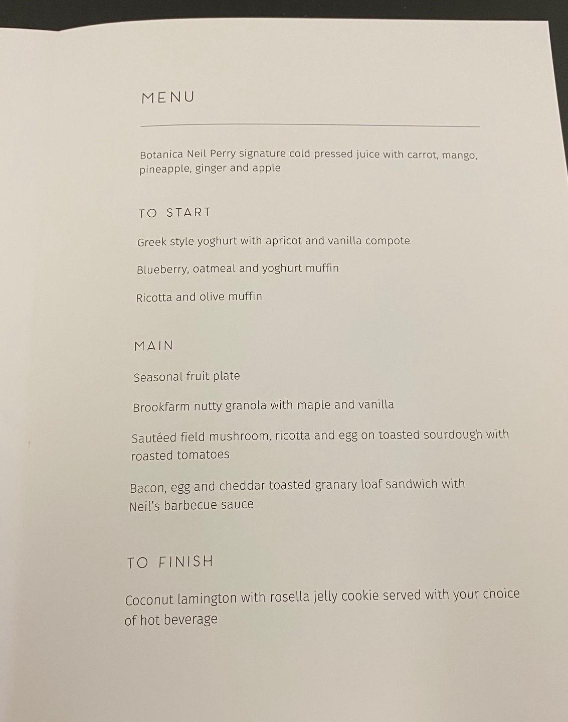 Qantas A-330 Business Class Breakfast Menu