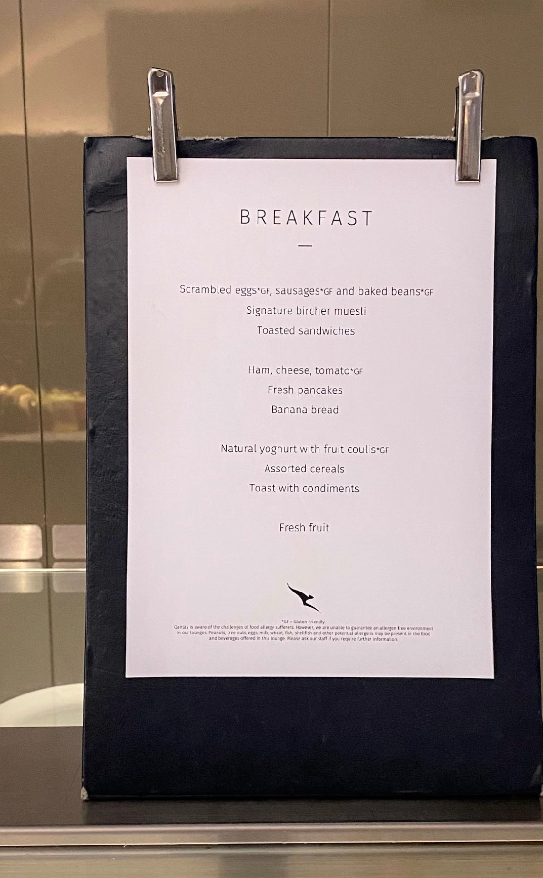 Breakfast Menu, Qantas Domestic Business Lounge - Sydney Airport