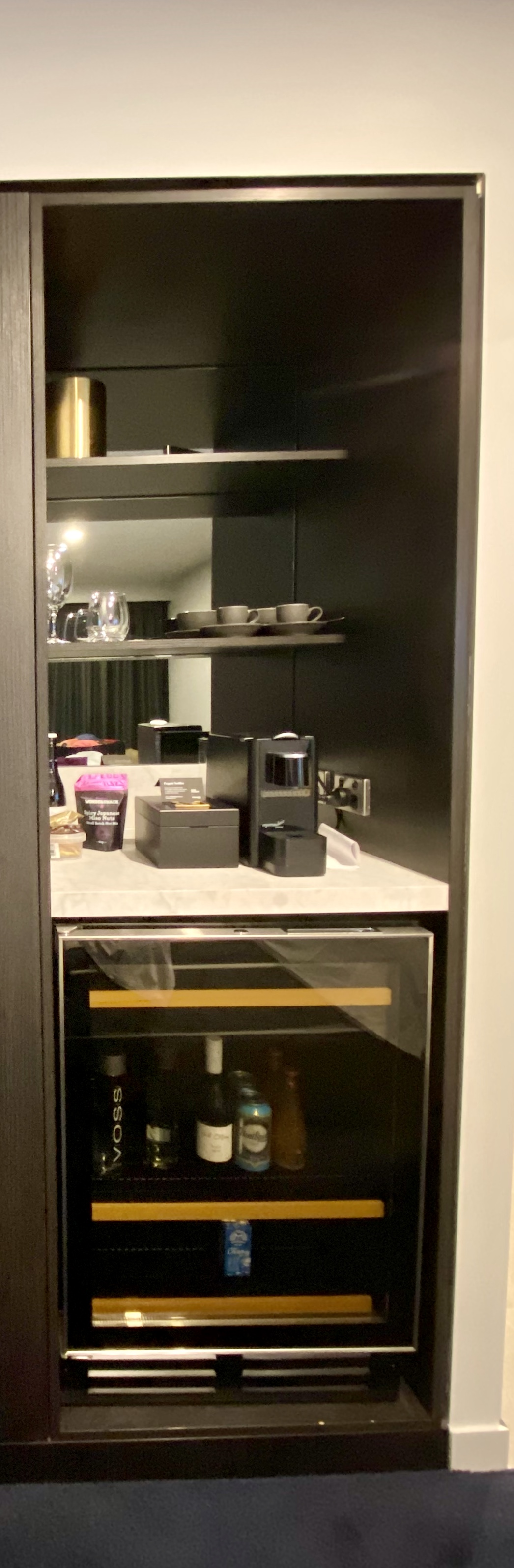 In-room mini bar and fridge, Midnight Hotel Canbberra