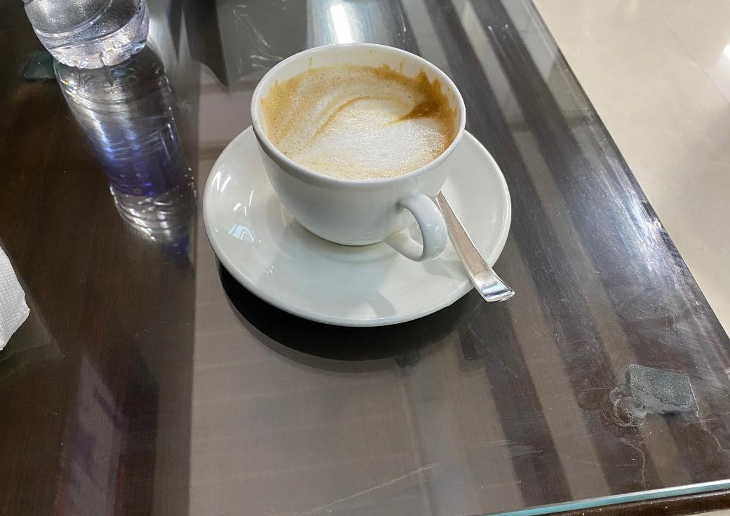 Cappucino at Amex Lounge Delhi Airport