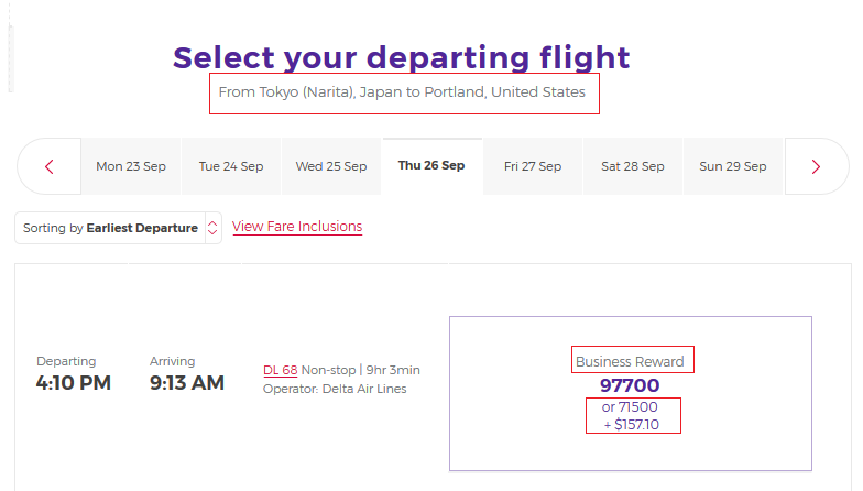 Tokyo to Portland on Delta using Velocity Points