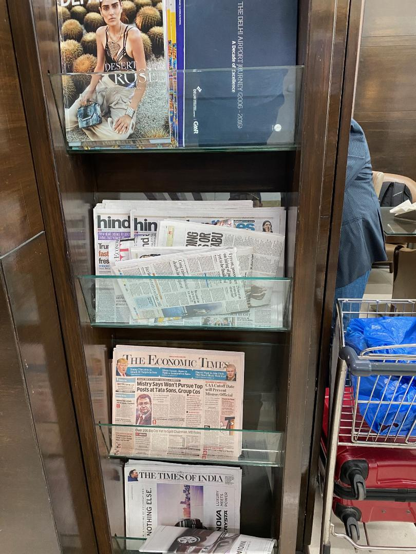 Newspaper & Magazines at Amex Lounge, Delhi Airport