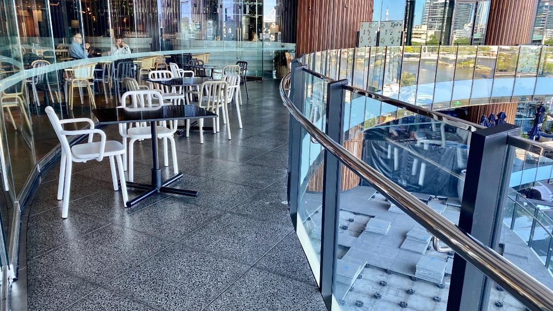 Outdoor seating, three blue ducks - W Brisbane
