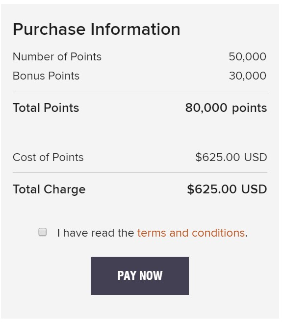 Marriott Points purchase price