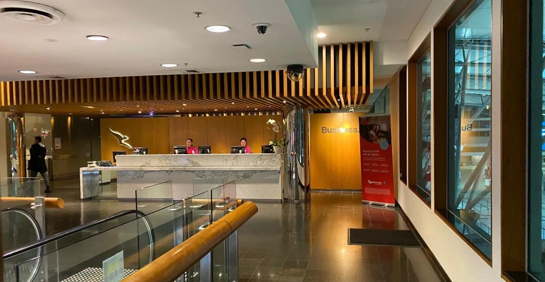 Reception at Qantas Domestic Business Lounge, Sydney Airport