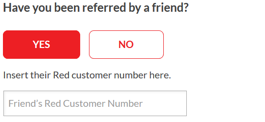Referral Code prompt