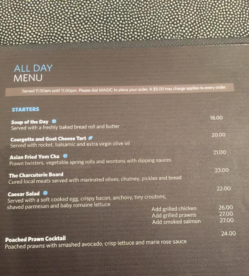 Hilton Queenstown, Room Service Menu