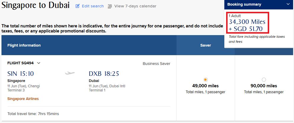 Singapore to Dubai using KrisFlyer Miles