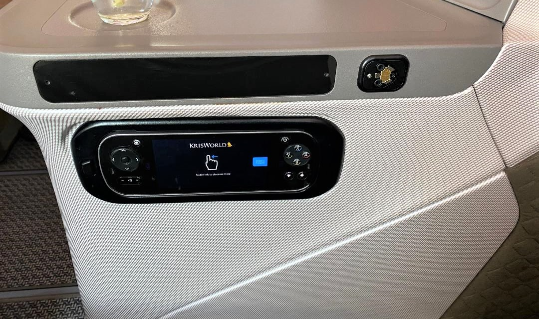 Seat Control Panel on Singapore Airlines Business Class B787-10