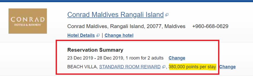 Conrad Maldives, 5th night free on points