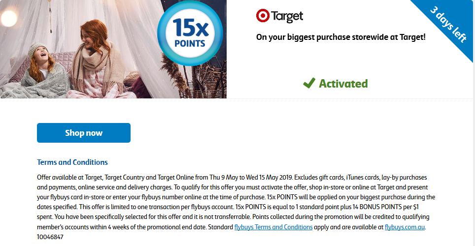 Target 15x points Storewide