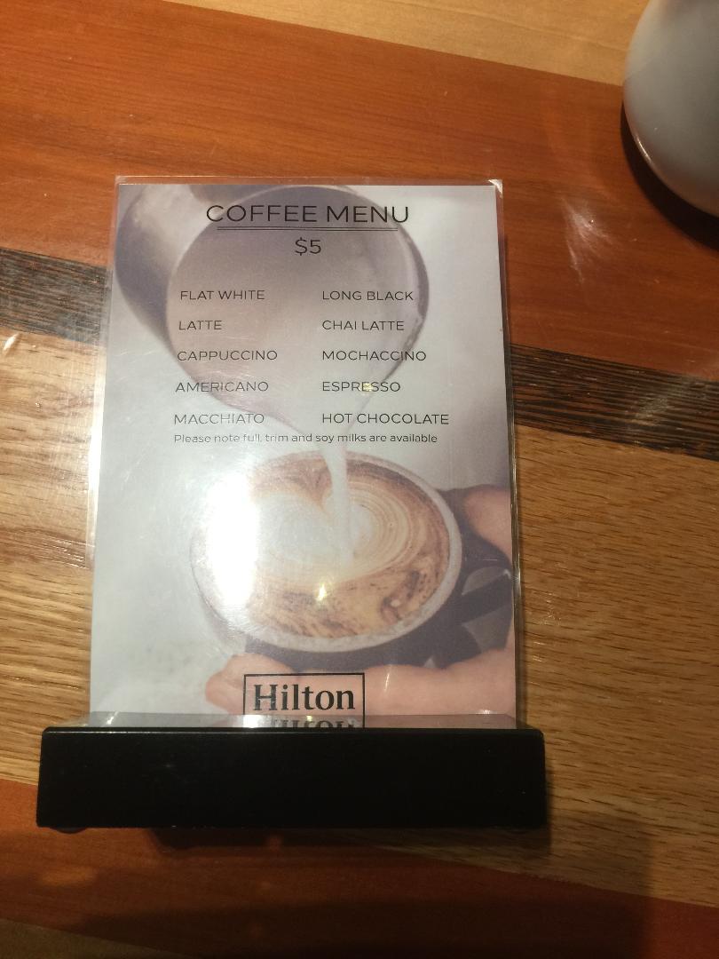 Hilton Quneenston Coffee Menu