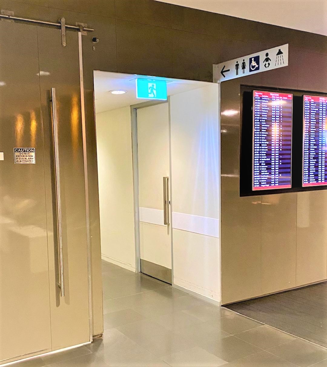 Access to Toilets, baby change room and Showers, Qantas Domestic Lounge - Sydney Airport
