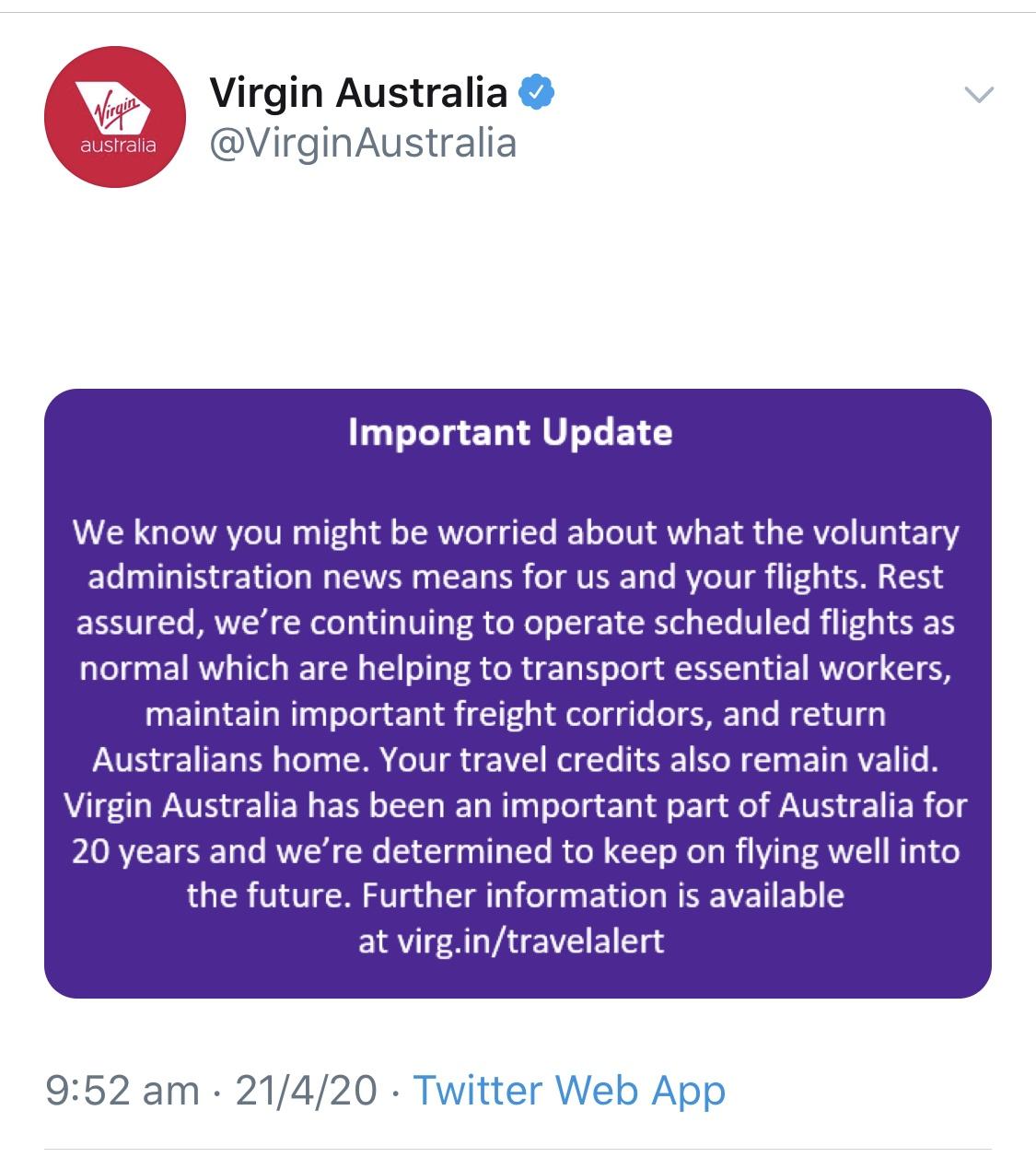 Virgin Australia Tweet