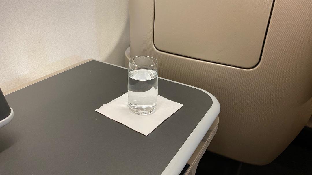 Pre-departure beverage, Qantas A-330 Business Class