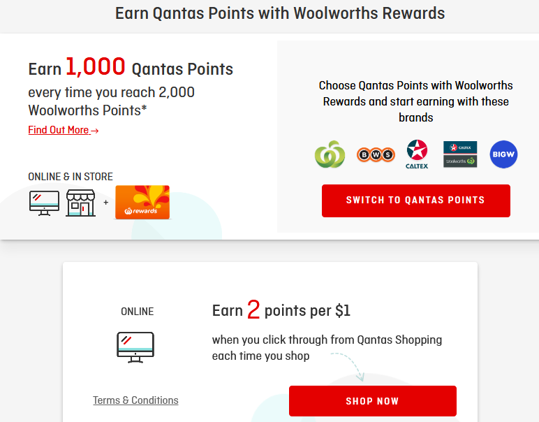 Woolworths shopping on Qantas online mall