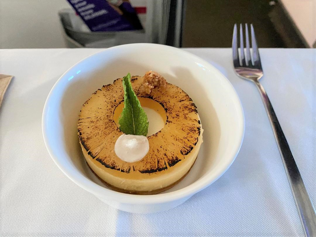 Pineapple and coconut cake on Virgin Australia Business Class