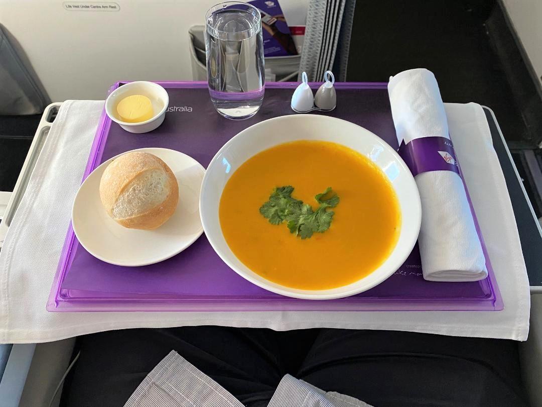 Pumpkin Soup on Virgin Australia Business Class