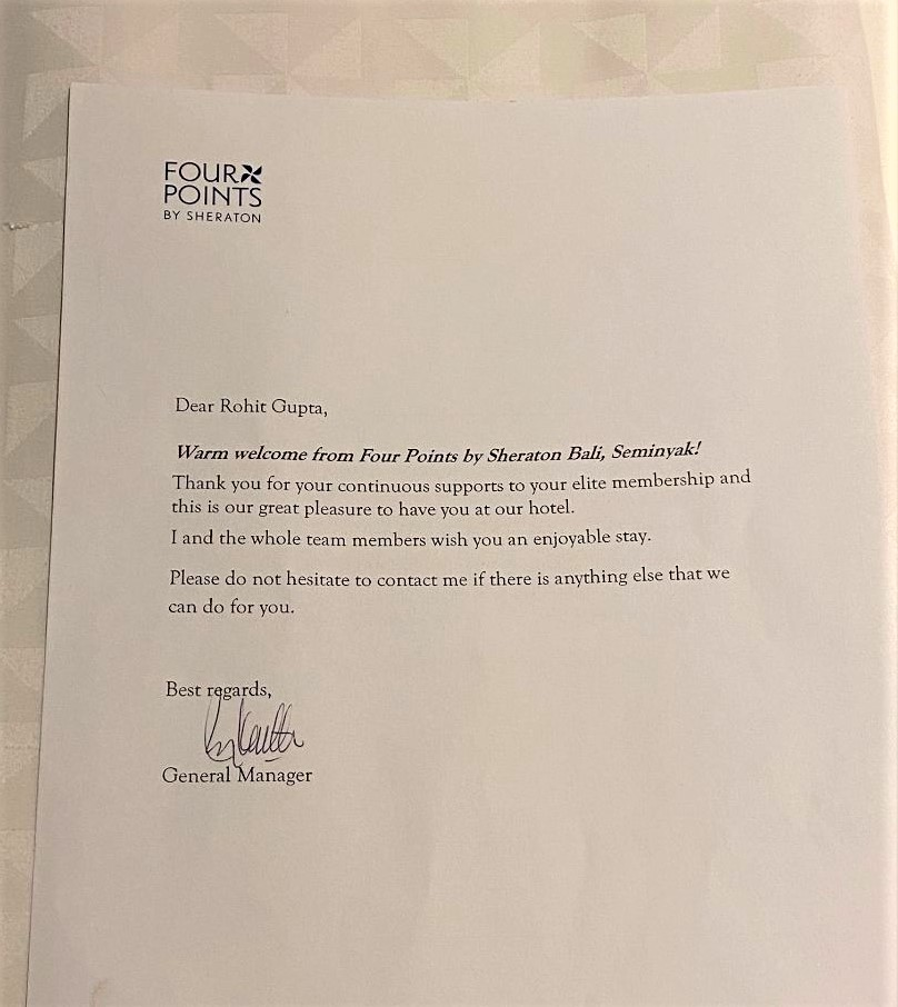 Welcome Letter, Four Points by Sheraton Bali, Seminyak