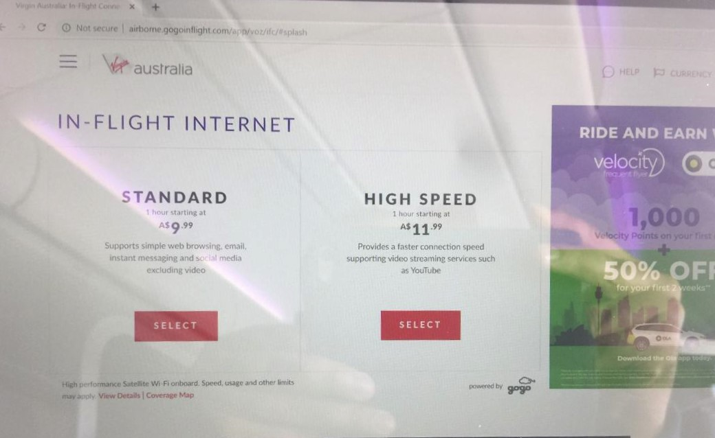 Virgin Australia in-flight wifi pricing